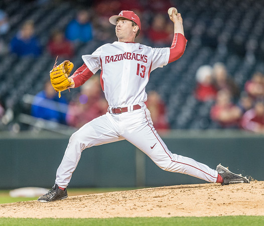 Arkansas pitcher Ty Harris (13) pitches during a baseball game between Arkansas and Grambling State on 3-15-2016.    (Alan Jamison, Nate Allen Sports Service)