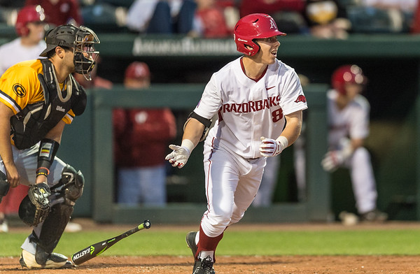 Arkansas outfielder Eric Cole (8) heads to first base during a baseball game between Arkansas and Grambling State on 3-15-2016.    (Alan Jamison, Nate Allen Sports Service)