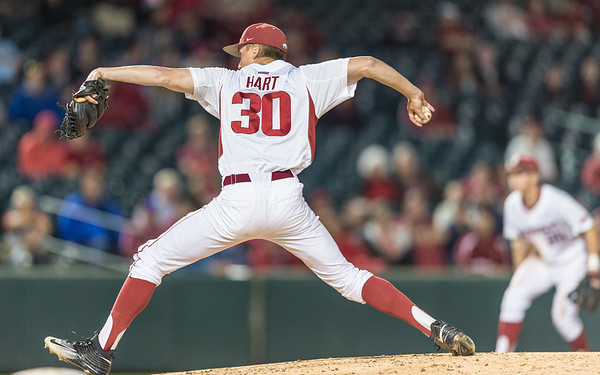 Arkansas pitcher Hunter Hart (30) pitches during a baseball game between Arkansas and Grambling State on 3-15-2016.    (Alan Jamison, Nate Allen Sports Service)