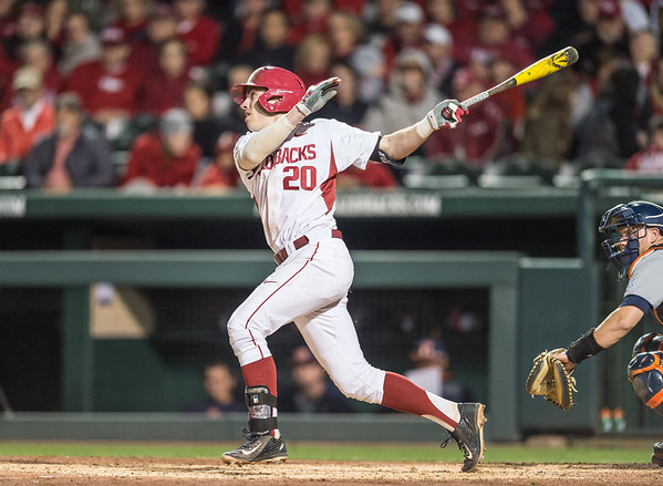Arkansas catcher Carson Shaddy (20) at bat during a baseball game between Arkansas and Auburn on 3-25-16.  (Alan Jamison, Nate Allen Sports Service)