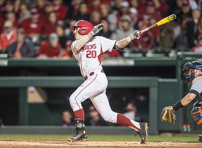 Arkansas catcher Carson Shaddy (20) at bat during a baseball game between Arkansas and Auburn on 3-25-16.  (Alan Jamison, Nate Allen Sports Service)