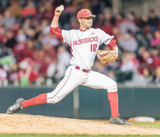 Arkansas pitcher Josh Alberius (10) pitches during a baseball game between Arkansas and Auburn on 3-25-16.  (Alan Jamison, Nate Allen Sports Service)