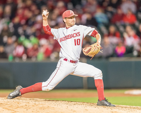 Arkansas pitcher Josh Alberius (10) pitches during a baseball game between Arkansas and Auburn on 3-25-16.  (Alan Jamison, Nate Allen Sports Service)