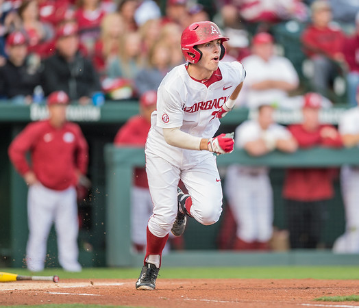 Arkansas catcher Carson Shaddy (20) heads for first base during a baseball game between Arkansas and Auburn on 3-25-16.  (Alan Jamison, Nate Allen Sports Service)