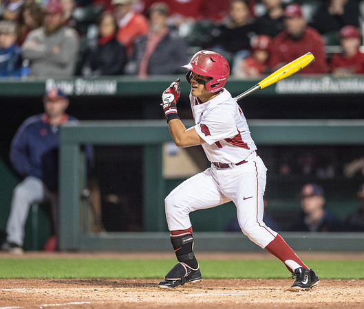 Arkansas infielder Rick Nomura (1) at bat during a baseball game between Arkansas and Auburn on 3-25-16.  (Alan Jamison, Nate Allen Sports Service)