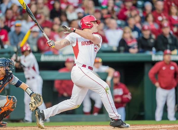 Arkansas catcher Chad Spanberger (24) at bat during a baseball game between Arkansas and Auburn on 3-25-16.  (Alan Jamison, Nate Allen Sports Service)