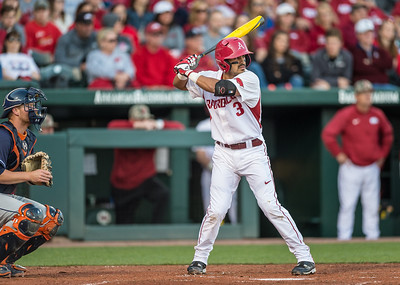 Arkansas infielder Michael Bernal (3) bats during a baseball game between Arkansas and Auburn on 3-26-16.  (Alan Jamison, Nate Allen Sports Service)