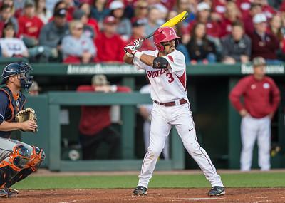 Arkansas infielder Michael Bernal (3) bats during a baseball game between Arkansas and Auburn on 3-26-16.  (Alan Jamison, Nate Allen Sports Service)