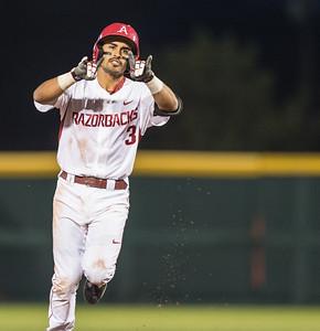 Arkansas infielder Michael Bernal (3) hit two home runs during a baseball game between Arkansas and Auburn on 3-26-16.  (Alan Jamison, Nate Allen Sports Service)