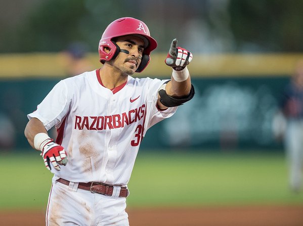 Arkansas infielder Michael Bernal (3) hit two home runs during a baseball game between Arkansas and Auburn on 3-26-16.  (Alan Jamison, Nate Allen Sports Service)