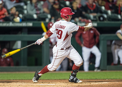 Arkansas infielder Cullen Gassaway (29) at bat during a baseball game between Arkansas and Missouri on 4-1-16.  (Alan Jamison, Nate Allen Sports Service)
