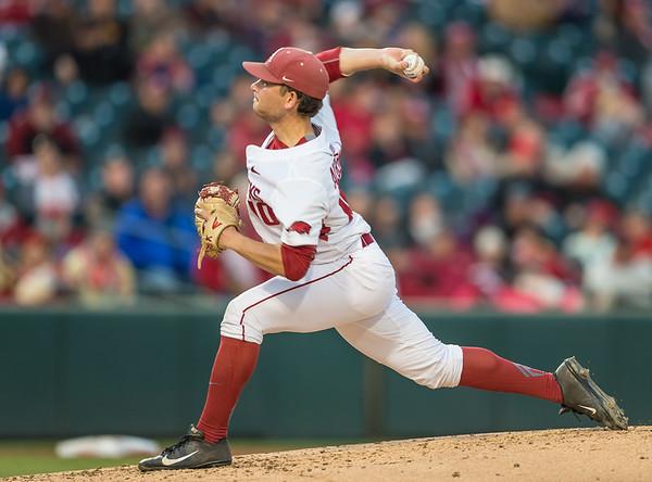 Arkansas pitcher Josh Alberius (10) pitches during a baseball game between Arkansas and Missouri on 4-1-16.  (Alan Jamison, Nate Allen Sports Service)
