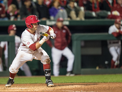 Arkansas infielder Cullen Gassaway (29) squares to bunt during a baseball game between Arkansas and Missouri on 4-1-16.  (Alan Jamison, Nate Allen Sports Service)
