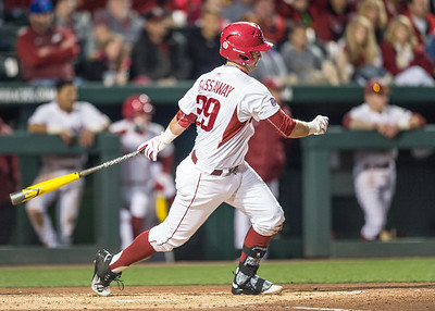 Arkansas infielder Cullen Gassaway (29) at bat during a baseball game between Arkansas and Missouri on 4-1-16.  (Alan Jamison, Nate Allen Sports Service)