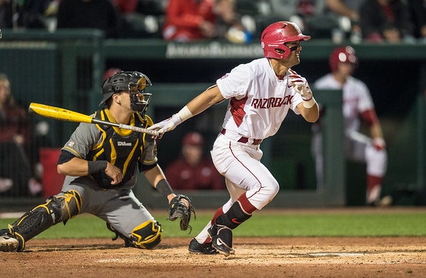 Arkansas infielder Rick Nomura (1) at bat during a baseball game between Arkansas and Missouri on 4-1-16.  (Alan Jamison, Nate Allen Sports Service)