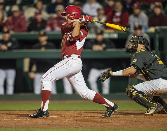 Arkansas outfielder Austin Catron (19) bats during a baseball game between Arkansas and Missouri on 4-2-16.  (Alan Jamison, Nate Allen Sports Service)