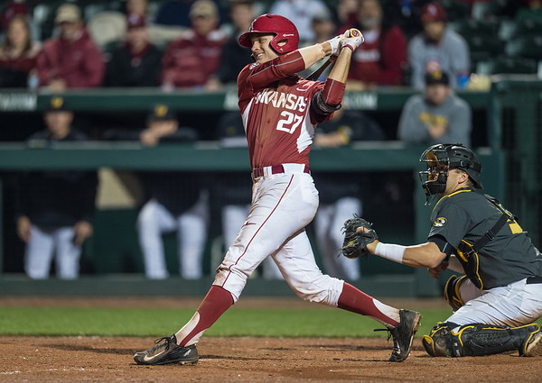 Arkansas catcher Tucker Pennell (27) bats during a baseball game between Arkansas and Missouri on 4-2-16.  (Alan Jamison, Nate Allen Sports Service)