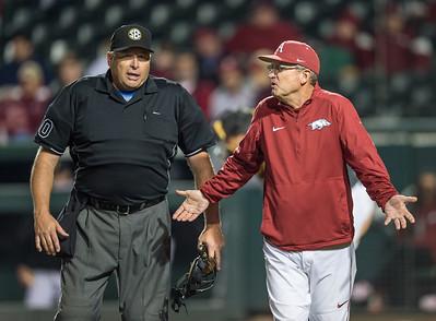 Arkansas head coach Dave Van Horn questions a call during a baseball game between Arkansas and Missouri on 4-2-16.  (Alan Jamison, Nate Allen Sports Service)