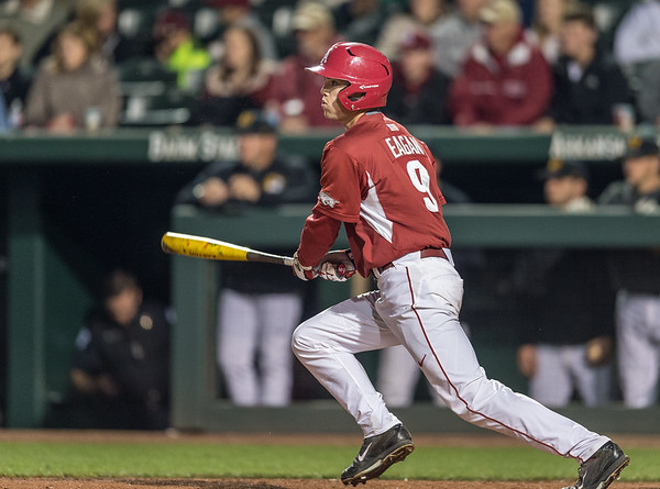 Arkansas outfielder Clark Eagan (9) bats during a baseball game between Arkansas and Missouri on 4-2-16.  (Alan Jamison, Nate Allen Sports Service)