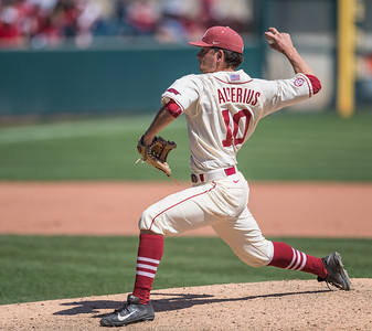 Arkansas pitcher Josh Alberius (10) pitches during a baseball game between Arkansas and Missouri on 4-3-16.  (Alan Jamison, Nate Allen Sports Service)