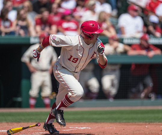 Arkansas outfielder Austin Catron (19) hits during a baseball game between Arkansas and Missouri on 4-3-16.  (Alan Jamison, Nate Allen Sports Service)
