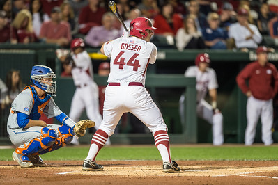 during a baseball game between Arkansas and Florida on 4/14/2016.   (Alan Jamison, Nate Allen Sports Service)