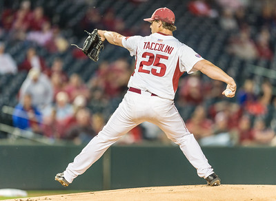 Arkansas pitcher Dominic Taccolini (25) pitches during a baseball game between Arkansas and Florida on 4/14/2016.   (Alan Jamison, Nate Allen Sports Service)