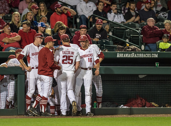 Arkansas pitcher Dominic Taccolini (25) exits the game during a baseball game between Arkansas and Florida on 4/14/2016.   (Alan Jamison, Nate Allen Sports Service)