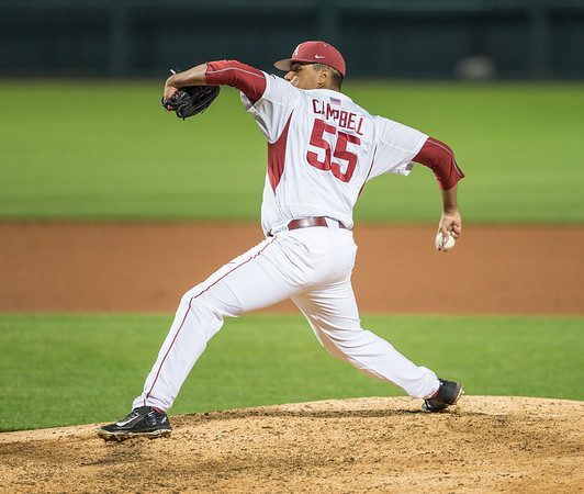 Arkansas pitcher Isaiah Campbell (55) pitches during a baseball game between Arkansas and Florida on 4/14/2016.   (Alan Jamison, Nate Allen Sports Service)