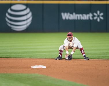 Arkansas infielder Michael Bernal (3) fielding during a baseball game between Arkansas and Florida on 4/16/2016.   (Alan Jamison, Nate Allen Sports Service)