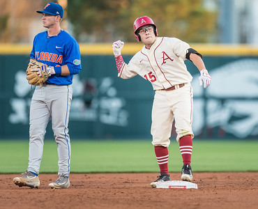 Arkansas outfielder Jake Arledge (15) celebrates a double during a baseball game between Arkansas and Florida on 4/16/2016.   (Alan Jamison, Nate Allen Sports Service)