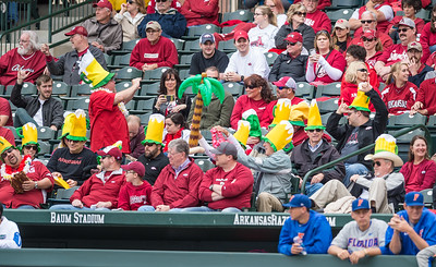 Razorback fans celebrate the bases being loaded during a baseball game between Arkansas and Florida on 4/16/2016.   (Alan Jamison, Nate Allen Sports Service)