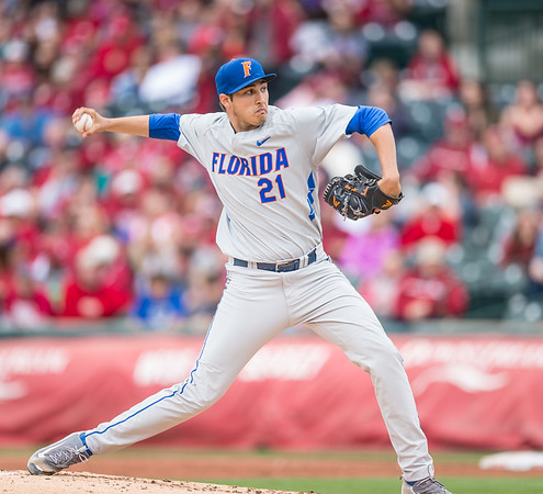 Florida pitcher Alex Faedo (21) pitches during a baseball game between Arkansas and Florida on 4/16/2016.   (Alan Jamison, Nate Allen Sports Service)