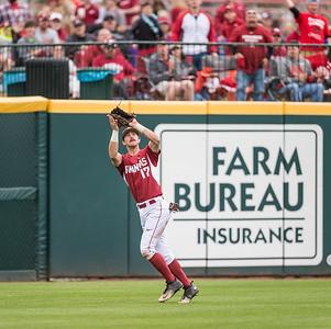 Arkansas outfielder Luke Bonfield (17) catches a fly ball during a baseball game between Arkansas and Florida on 4/16/2016.   (Alan Jamison, Nate Allen Sports Service)