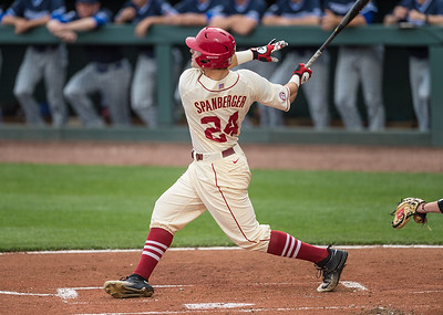 Arkansas catcher Chad Spanberger (24) hits a home run during a baseball game between Arkansas and Creighton on 4/19/2016.   (Alan Jamison, Nate Allen Sports Service)