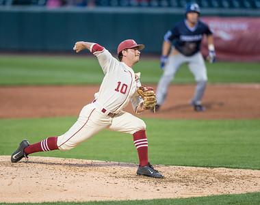 Arkansas pitcher Josh Alberius (10) p[itches during a baseball game between Arkansas and Creighton on 4/19/2016.   (Alan Jamison, Nate Allen Sports Service)