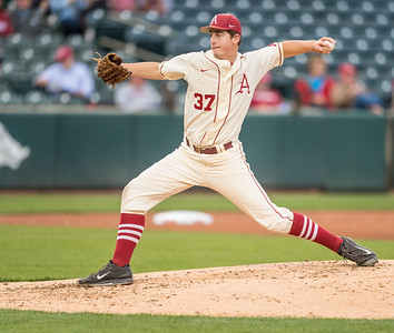 Arkansas pitcher Weston Rogers (37) pitches during a baseball game between Arkansas and Creighton on 4/19/2016.   (Alan Jamison, Nate Allen Sports Service)