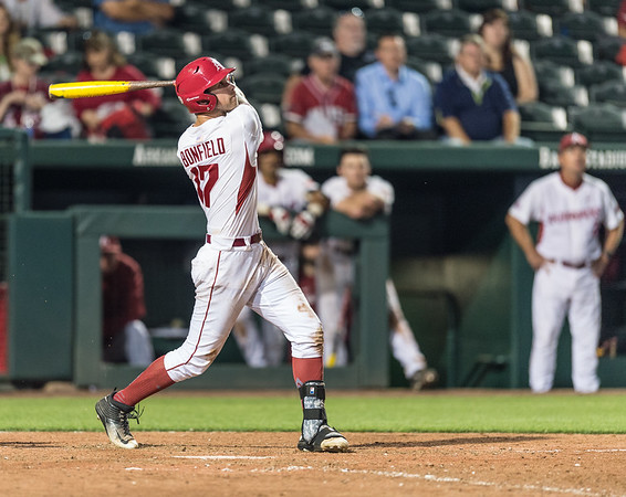 Arkansas outfielder Luke Bonfield (17) bats during a baseball game between Arkansas and Oklahoma State University on 4/26/2016.   (Alan Jamison, Nate Allen Sports Service)