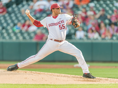 Arkansas pitcher Isaiah Campbell (55) pitches during a baseball game between Arkansas and Oklahoma State University on 4/26/2016.   (Alan Jamison, Nate Allen Sports Service)