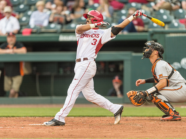 Arkansas infielder Michael Bernal (3) bats during a baseball game between Arkansas and Oklahoma State University on 4/26/2016.   (Alan Jamison, Nate Allen Sports Service)