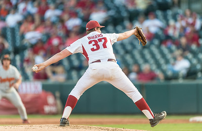 Arkansas pitcher Weston Rogers (37) pitches during a baseball game between Arkansas and Oklahoma State University on 4/26/2016.   (Alan Jamison, Nate Allen Sports Service)