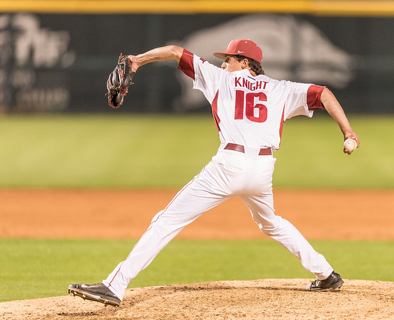 Arkansas pitcher Blaine Knight (16) pitches during a baseball game between Arkansas and Oklahoma State University on 4/26/2016.   (Alan Jamison, Nate Allen Sports Service)
