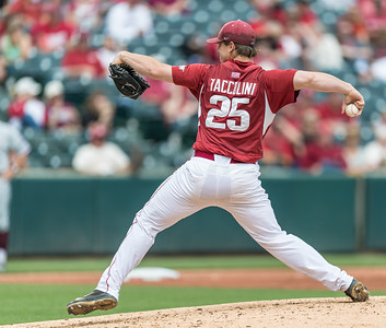 Arkansas pitcher Dominic Taccolini (25) pitches during a baseball game between Arkansas and Texas A&M University on 4/30/2016.   (Alan Jamison, Nate Allen Sports Service)