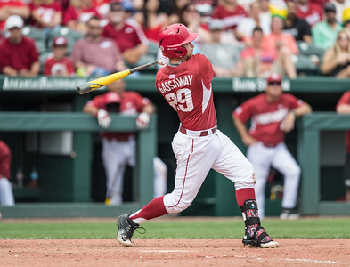 Arkansas infielder Cullen Gassaway (29) at bat during a baseball game between Arkansas and Texas A&M University on 4/30/2016.   (Alan Jamison, Nate Allen Sports Service)
