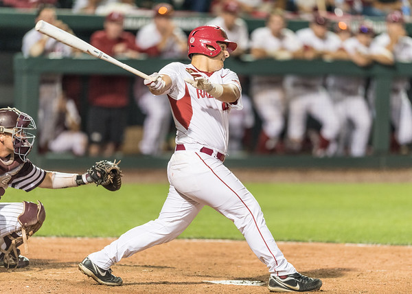Arkansas catcher Alex Gosser (44) pinch hits in the ninth inning to score Rick Nomura and tie the game during a baseball game between Arkansas and Texas A&M University on 4/30/2016.   (Alan Jamison, Nate Allen Sports Service)