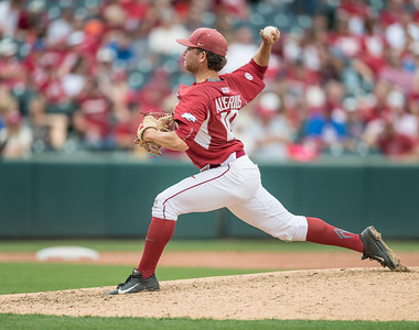 Arkansas pitcher Josh Alberius (10) pitches during a baseball game between Arkansas and Texas A&M University on 4/30/2016.   (Alan Jamison, Nate Allen Sports Service)