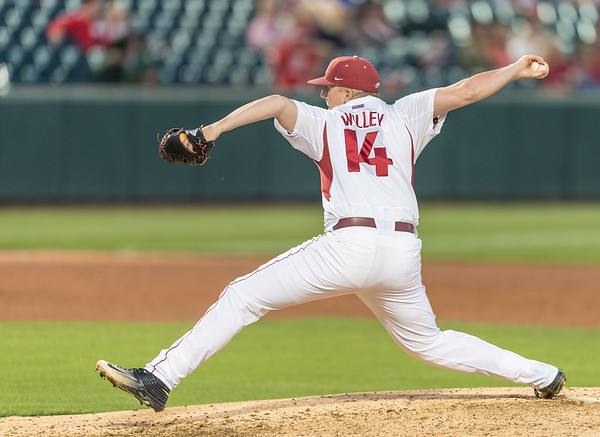 Arkansas pitcher Doug Willey (14) pitches during a baseball game between Arkansas and Texas A&M University on 4/30/2016.   (Alan Jamison, Nate Allen Sports Service)