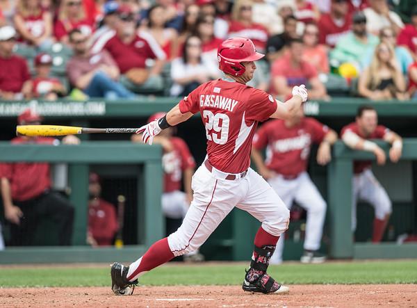 Arkansas infielder Cullen Gassaway (29) at bat during a baseball game between Arkansas and Texas A&M University on 4/30/2016.   (Alan Jamison, Nate Allen Sports Service)