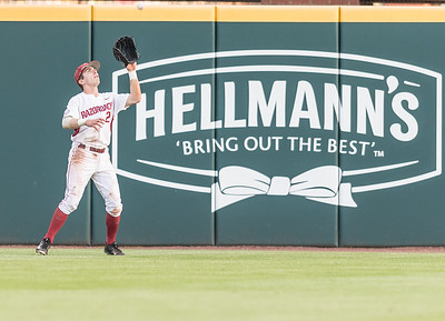 Arkansas catcher Carson Shaddy (20) catches a long fly ball during a baseball game between Arkansas and Texas A&M University on 4/30/2016.   (Alan Jamison, Nate Allen Sports Service)