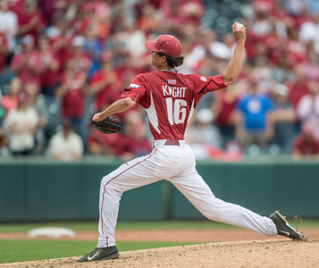 Arkansas pitcher Blaine Knight (16) pitches during a baseball game between Arkansas and Texas A&M University on 4/30/2016.   (Alan Jamison, Nate Allen Sports Service)
